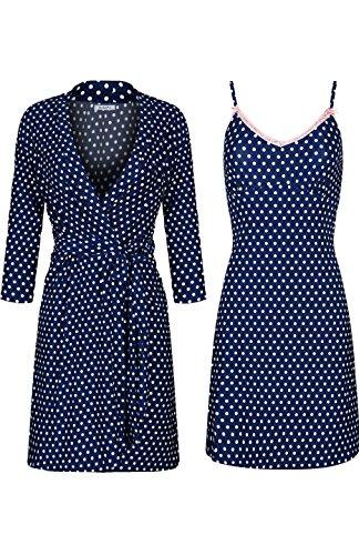 SofiePJ Women's Printed Sleepwear Chemise and Robe 2PC Set Navy White L