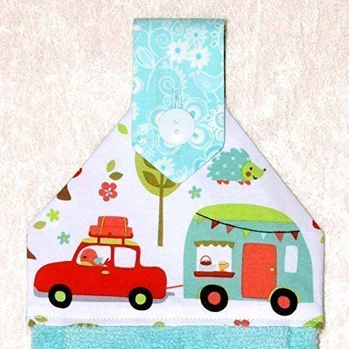 Amazon Com Hanging Hand Towel Plush Turquoise Towel In Vibrant Retro Rv Print Rv Camping Decor Handmade