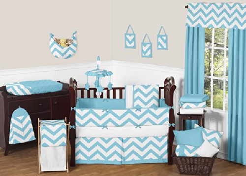 Sweet Jojo Designs 3-Piece Fits Most Basket Liners for Turquoise and White Chevron Zig Zag Bedding Sets