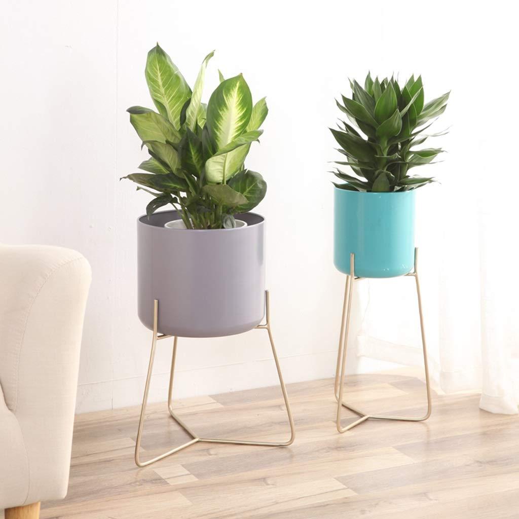 Kreatives nordisches Schmiedeeisen-Blumen-Stand-Innenwohnzimmer-Balkon-stehender moderner moderner moderner einfacher Wind-Grün-Rettich eingemachter Blumen-Topf-Regal, keine Notwendigkeit zu lochen ( größe : Trumpet ) 1044e4