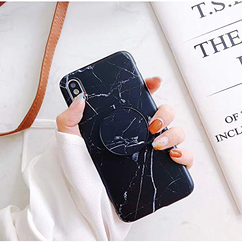MAYCARI Chic Black Marble Design Kickstand Case for iPhone X, Silicone Rubber Gel Bumper Soft TPU Case Cover for Girls Women Men [IMD Technology]