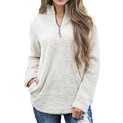 Cheap Cromoncent Womens Fluffy Warm Half Zip Pocket Solid Pullover Sweatshirt for cheap