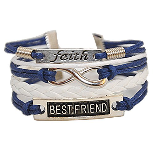 Ac Union Handmade Best Friend Faith Charm for Friendship Gift - Fashion Personalized Leather Bracelet - Dark Blue