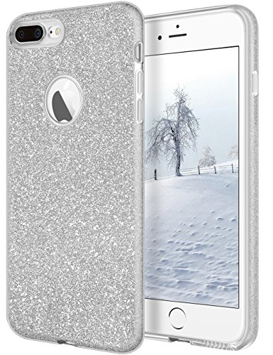 iPhone 8 Plus Case,iPhone 7 Plus Case,Cheeringary Bling Glitter Shiny 3 in 1 Shockproof Slim Fit TPU+PC Protective Cover Shell for Apple iPhone 8/7 Plus(2017)-Silver (Cover Silver Phone)