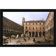 """Canaletto Campo di Rialto - 16.1"""" x 24.1"""" Framed Premium Canvas Print"""