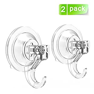 2 Pack Suction Cup Hooks BUDGET & GOOD Strong Power Lock Shower Suction Hook Heavy Duty Vacuum Suction Home Kitchen Bathroom Wall Hooks Razor Holder for Towel Loofah Cloth Key
