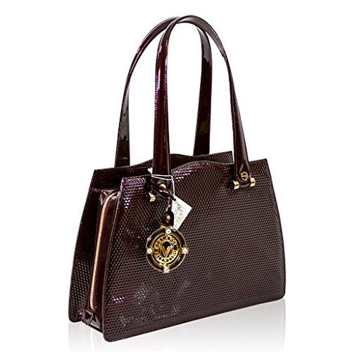 Valentino Orlandi Designer Italien Burgundy Textured Sac en cuir verni