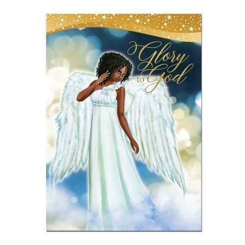 """Search : African American Expressions - Glory to God/ Angel Boxed Christmas Cards (15 cards, 5"""" x 7"""") C-938"""