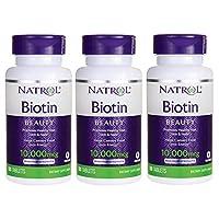 Natrol Biotin, Maximum Strength, 10,000 Mcg Tablets 100 Ea (Pack of 3)