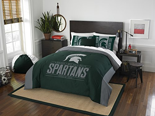 Michigan State Spartans Merchandise (Officially Licensed NCAA Michigan State Spartans Modern Take Full/Queen Comforter and 2 Sham Set)