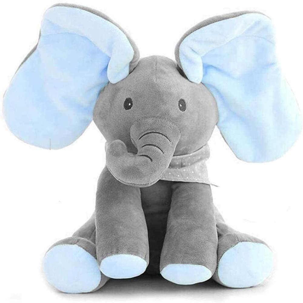 GHTYN Peek-A-Boo Elefante,DE Peluche Juguete Interactivo Canciones De Canto M/úSica Felpa Elefante Animal De Peluche Elefante Juguete,Peluche para Ni/ñOs Mu/ñEca De Regalo 30cm //Azul