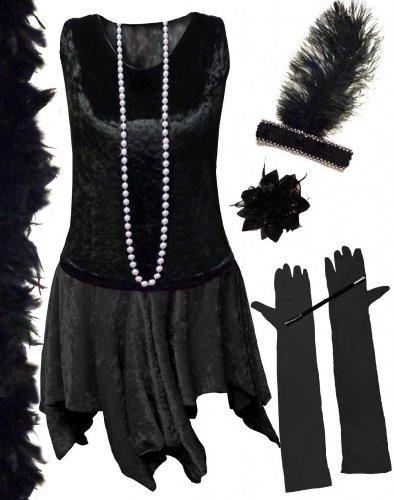 Sanctuarie Designs Women's /3xT/Black/Black Flapper Deluxe Kit Plus Size Supersize Halloween Costume Dress (Flapper Dancer)