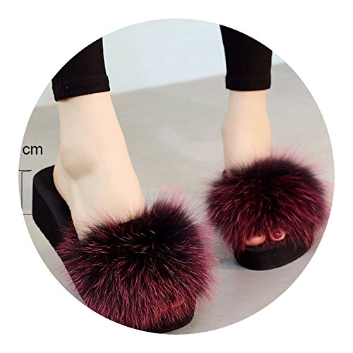 Slippers for Fox Fur Slippers Thick Shoes Wedges Fur Slipper Women,Wine red 7cm,6.5 ()