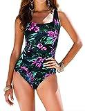 coastal rose Women's Tummy Control Swimsuit One Piece Ruched Swimwear Monokini US14 Green Floral