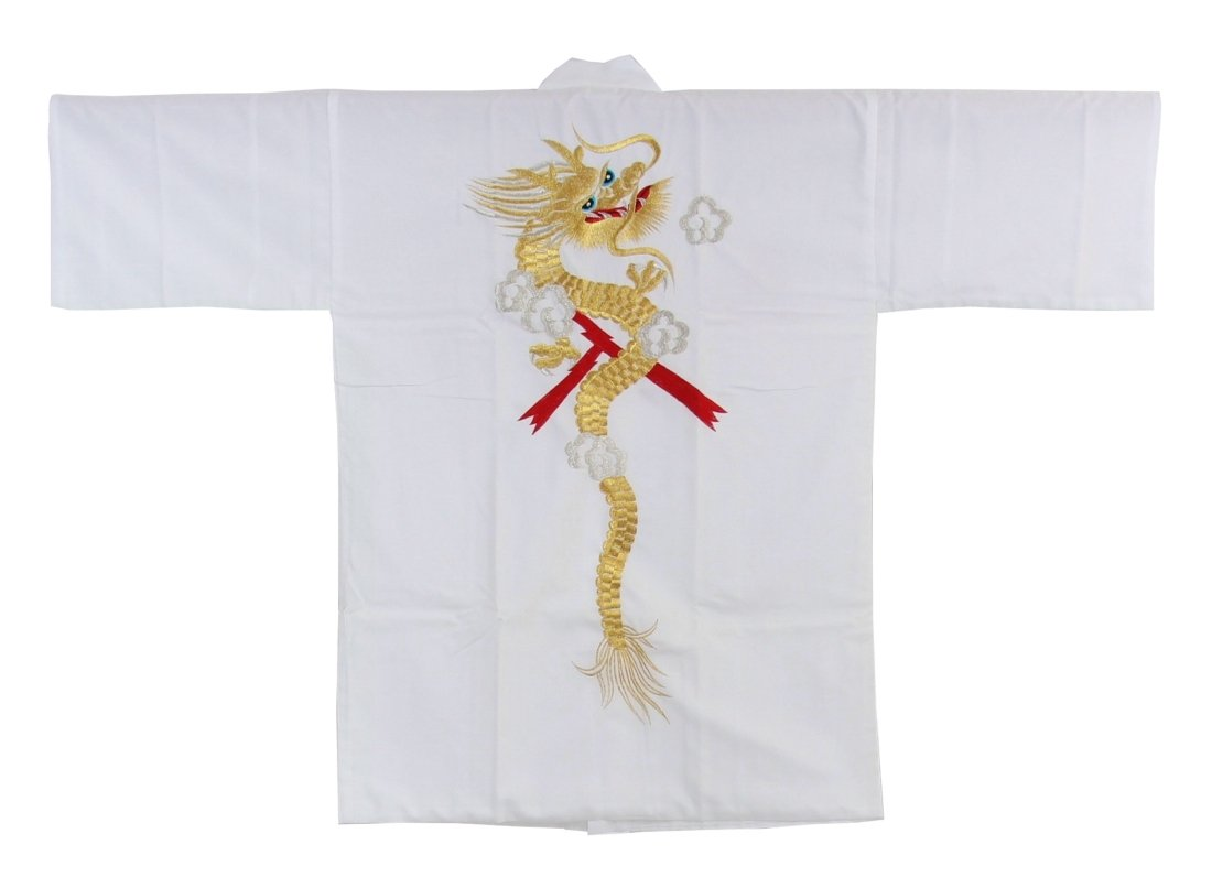 Japanese Style Traditional Japanese Happi Coat 35'' Silk-like Polyester Embroidered Dragon White Made in Japan