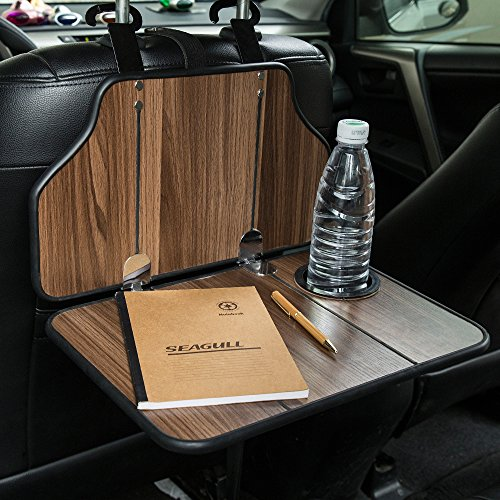 FMS Multi-Functional Car Back Seat Folding Table Wooden Portable Foldable Vehicle Seat Back Table Tray, Laptop Notebook Deck, Food Desk and Cup Holder ()