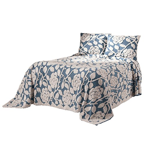 OakRidge The Grace Chenille Bedspread 100% Cotton, Floral Design, 5 Colors