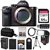 Sony Alpha A7R II 4K Wi-Fi Digital Camera Body with 64GB Card + Battery + Charger + Case + Flash/Video Light + Tripod + Kit