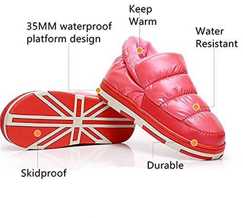 Térmica Zapatos Mujer de Zapatillas Vellocino Polliwoo Cómodo rosa Para Algodón qxYIwBgF6