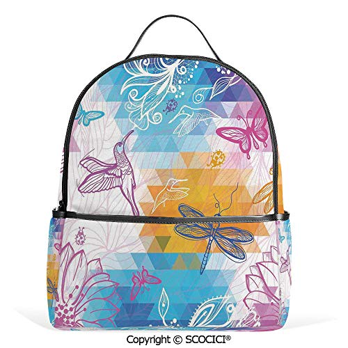 Casual Fashion Backpack Beetle Dragonfly and Bird Shapes over Geometrical Angled Bound Triangle Forms Graphic,Multi,Mini Daypack for Women & Girls ()