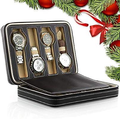 Amzdeal - Caja de almacenamiento para relojes, 2 capas, 8 rejillas ...