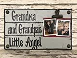 PHOTO HOLDER Grandma and Grandpa's Little Angel SINGLE Picture Wall Frame Memo Board GRAY Grey Reclaimed Sign with Clip Wood Dog Dogs baby Home Decor