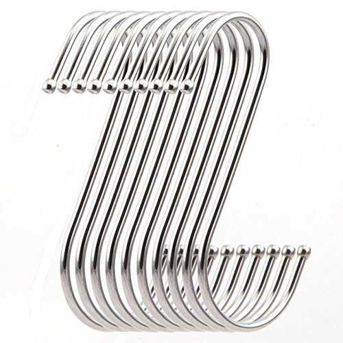 RuiLing Premium 4.9 inch Heavy Duty Stainless Steel S Hooks - S Shaped hook - Hanger Hooks - Ideal for hanging pots and pans, plants, utensils, towels etc. Set of 10