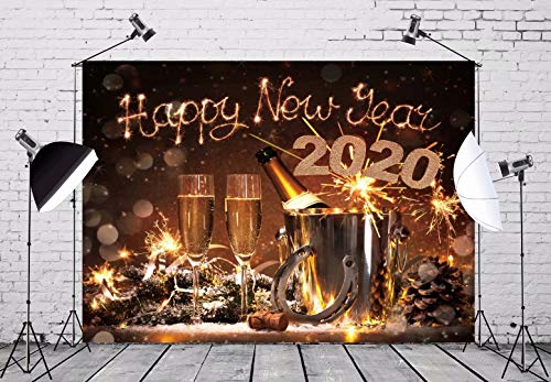BELECO 5x3ft 2020 New Years Eve Celebration Backdrop Pair of Flutes Champagne in Bucket Horseshoe as Lucky Charm Photography Backdrop for Christmas Party Decorations Photo Background Photo Studio
