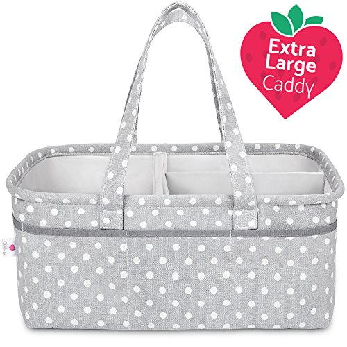 Baby Diaper Caddy Organizer Extra Large | 100% Cotton Canvas Nursery Storage Bin | Sweet Carling's Portable Caddie For Diapers, Wipes, Toys, Clothes & More | Premium Shower Gift For - Large Diaper