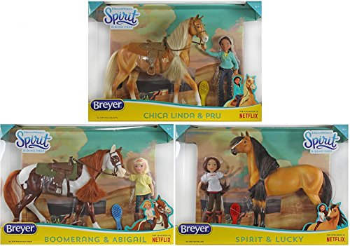 Breyer Spirit Riding Free Large Gift Sets Bundle - Set of 3 Includes Spirit, Chica Linda & Boomerang!