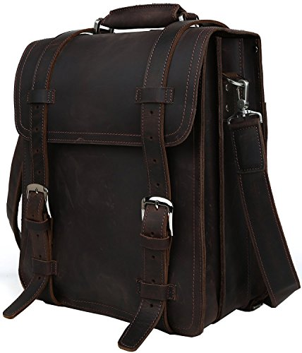 Iswee Olde England Style Crazy Horse Cowhide Leather Backpack Shoulder Bag Tote 14'in Laptop Messenger Handbag (Coffee)