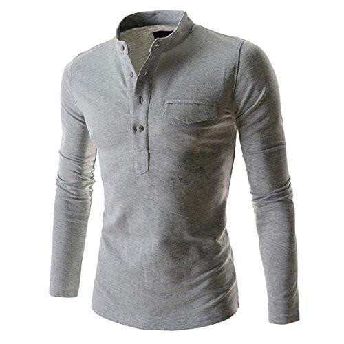 Puedo Mens Henley Shirt, Casual Long Sleeves Shirts Henley Shirt Grandad Neck T-Shirts Tees Button Placket Top (Light Grey,L=US M) - Grandad Neck T-shirt