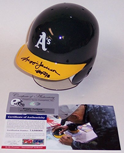 Reggie Jackson Autographed Hand Signed Oakland A's Mini Batting Helmet - PSA/DNA Certified - Autographed MLB Mini Helmets