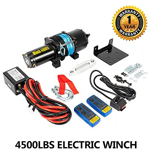 - Electric Winch 12V 4500LBS Recovery Winch Trailer Towing Truck UTV ATV Synthetic Rope with 2 Wireless Remote Control Kit