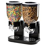 Double Chamber Airtight Cereal And Dry Food Dispenser With Built In Spill Tray For Home, Kitchen, Countertops, Breakfast, Pets, Cat Food, Dog Food, Candy, Pantry