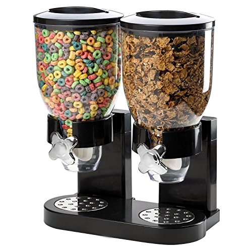 Double Chamber Airtight Cereal And Dry Food Dispenser With Built In Spill Tray For Home, Kitchen, Countertops, Breakfast, Pets, Cat Food, Dog Food, Candy, Pantry Countertop Cereal