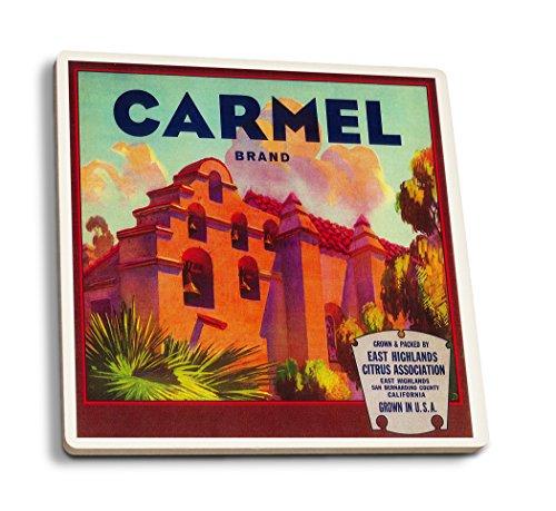 Carmel Orange - Vintage Crate Label (Set of 4 Ceramic Coasters - Cork-Backed, Absorbent)