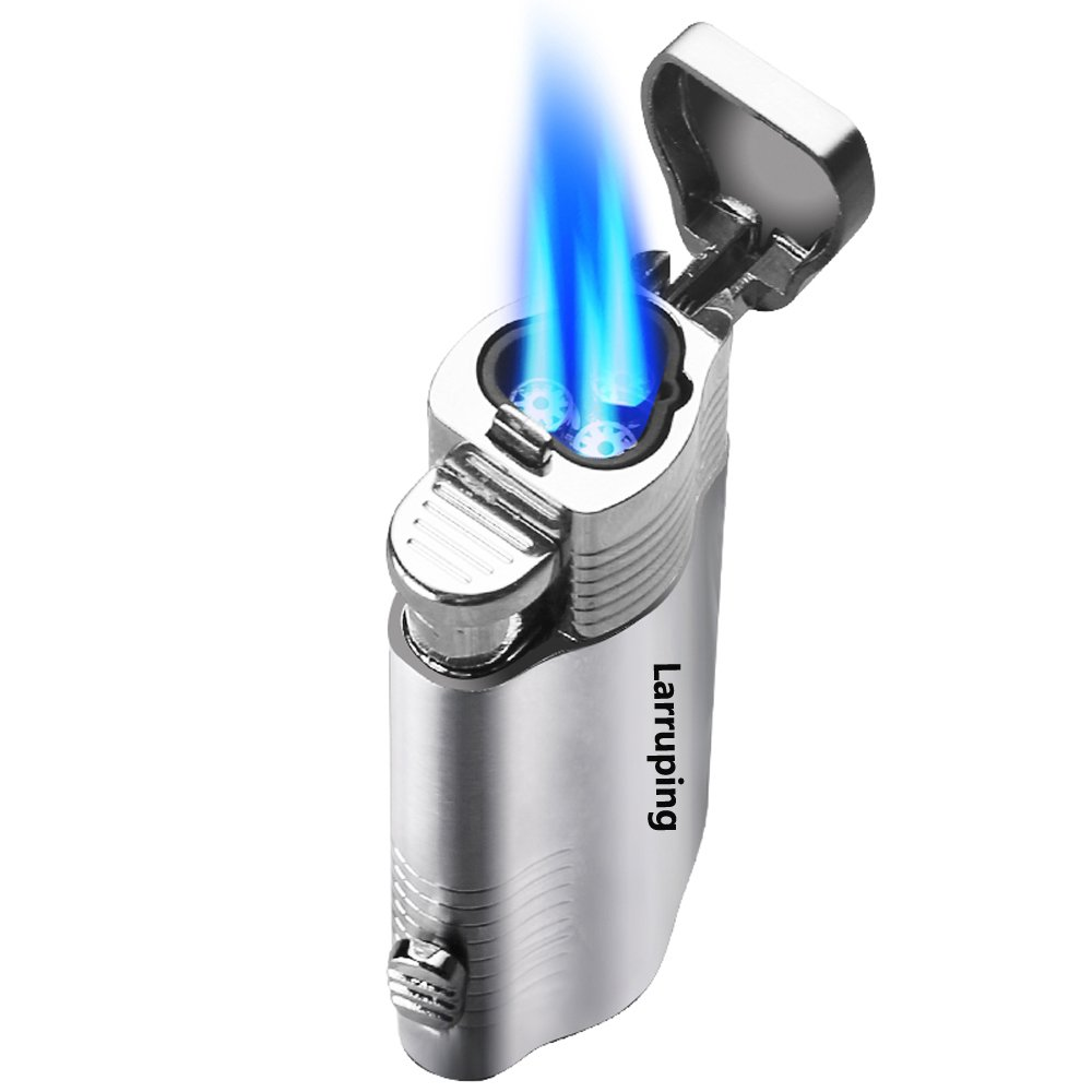 Jet Lighter,Torch Lighter Windproof Turbo Triple Flame Gas Butane Refillable Torch Lighter with Punch Cutter Tool and Butane Window,Gadgets for Men
