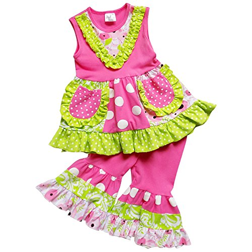 - So Sydney Girls Toddler Tank Ruffle Bottom Tunic Top Capri Pants Boutique Outfit (XS (2T), Hot Pink & Lime Green)