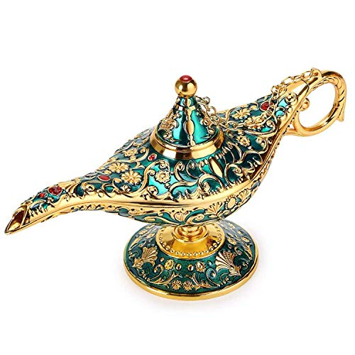 (Kristing New Magical Legend Aladdin's Genie Lamp,Vintage Collectable Rare Classic Arabian Costume Props Lamp Pot &Gift for Party/Halloween/Birthday Home/Wedding Table)