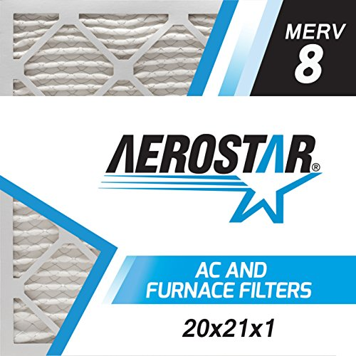 Aerostar 20x21x1 MERV 8, Pleated Air Filter, 20x21x1, Box of 6, Made in the USA
