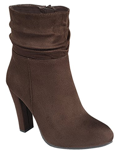 Chunky Wrapped Slouch Cambridge Heel Select Toe Round Ankle Women's Brown Bootie Wqc1F14X