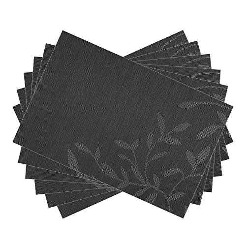 SiCoHome Placemats for Dining Table,Set of 6,Black Placemats for Home Kitchen