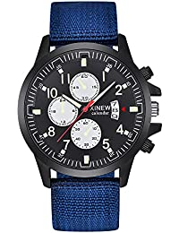 Mens Analog Quartz Watch On Clearance,POTO Leather Band Alloy Dress Wrist Watch Gift Watches RY-429 (Blue B)