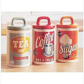 vintage s estilo retro de cermica t caf y azcar juego de tarro de