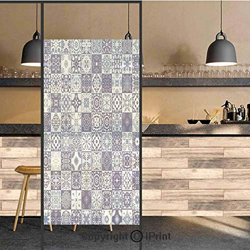 3D Decorative Privacy Window Films,Antique Architectural Elements Historic Artwork Mandala Damask Patterns Art Print,No-Glue Self Static Cling Glass film for Home Bedroom Bathroom Kitchen Office ()