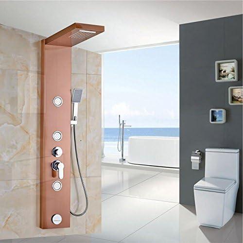 HUAM@Rose oro baño ducha columna grifo pared montado en una manija ...