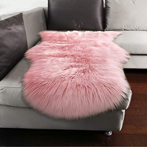 YJ.GWL Soft Pink Fluffy Faux Fur Sheepskin Area Rug for Bedroom Sofa Cover Seat Living Room Shaggy Bedside Rugs 2' x 3'