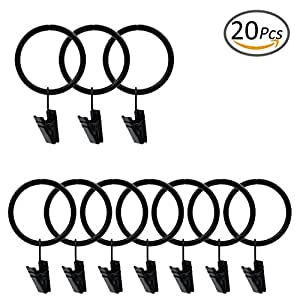"TMOcom 20 Pcs Iron Clips Rings Curtain Clips Rings Metal Drapery Curtain Rings with Clips Shower Curtain Clip Rings,Black(2.25"")"