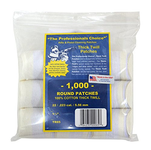 The Professional's Choice Pistol/Rifle Cotton Twill 1 1/4-Inch Round Gun Cleaning Patches (1000-Pack), .22/.223-Calibre/5.56mm